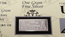 x20 Merry Christmas 2016 ACB 1 Gram Bar 999 Fine SILVER w/Certificate Great Gift
