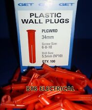 1000 Red Wall Plugs Drill size 5.5mm no 10  6-8-10 Screw Size Rawl Plug GET