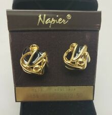 Vintage Napier Clip On Earrings Gold And Black Twist Fashion Jewelry