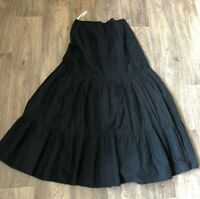 East Lined Cotton Maxi Skirt 8 Black BOHO Festival