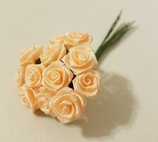 """Lot of 144pcs Peach Satin Ribbon Roses Flowers 12mm 1/2"""" 1/2 Inch on Wire Stem"""