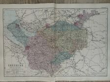 1886 Cheshire Original Antique Hand Coloured County Map by G.W. Bacon