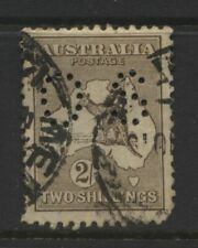 Australia Kangaroo 2/- Brown Value Perforated OS Used