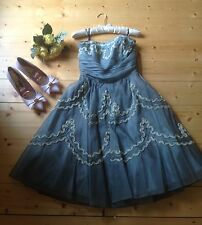 Betsey Johnson Vintage Blue Tea Prom Dress Skirt Ruffle Tulle US 8 10 UK 12