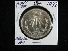 1932 .720 FINE SILVER MEXICO CAP & RAYS 1 UN PESO CHOICE BU