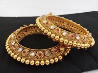Bollywood Indian Fashion Traditional Gold Plated Ethnic Rajwada Bangles Jewelry