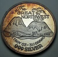 """COLOR """"THE GREAT NORTHWEST"""" SILVER TRADE UNIT ROUND VINTAGE BU TONED UNC (DR)"""