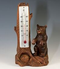 """Vint Hand Carved Black Forest 8"""" Bear & Log Thermometer Stand, Weather Station"""
