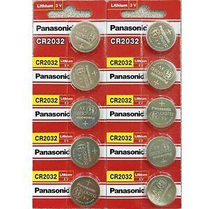 10 x SUPER FRESH Panasonic ECR2032 CR2032 Lithium Battery 3V Coin Cell Exp. 2030