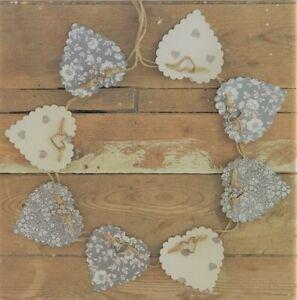 GREY BUNTING,GARLAND,FLORAL HEARTS,100% COTTON PRINTS, WOOD HEARTS,2.5 METRES