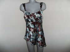 SELF ESTEEM Size X-Large, Brown/Turquoise/Cream Babydoll Empire Waist Top Poly