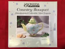 "Oneida Kitchen Country Bouquet Miniature China Teapot -"" Floral Toss "" New"