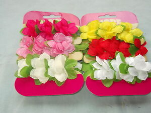 Pack 3 flower hair bun ring elastics fabric floral scrunchie bobbles buns bands