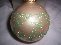 Silvestri Christmas Ornaments Pearl Color With Green Glitter Flowers Four In Box