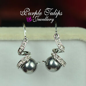 18K White GoldPlate Twine Pearl Dangle Earrings Made With Swarovski Crystal