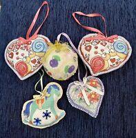 Cute Handmade Felt Decorations Christmas Ornaments Lot Of 5