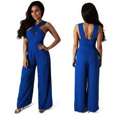 Ladies Evening Party Playsuit Romper Women Wide Leg Trousers Jumpsuit Plus Size 2xl Blue
