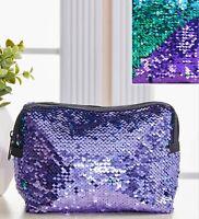 Mermaid Teal to Purple Sequin Cosmetic Bag 7x2.5x6 Zippered NIP