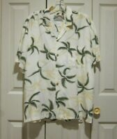 Paradise Found Hawaiian Mens Yellow Floral Button Front Shirt Sz L Rayon USA