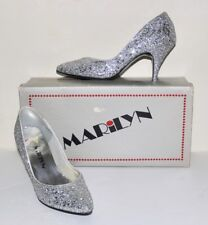 Marilyn vintage bombshell glamour silver glitter high heel shoes 9