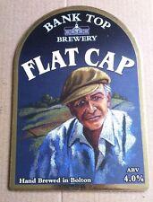 Beer pump badge clip BANK TOP brewery FLAT CAP cask ale pumpclip front Bolton