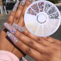 3D Nail Art Rhinestones Studs Acrylic Tips Stickers Decoration in Wheel Decal