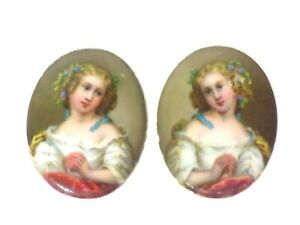 Pair of Hand-Painted Porcelain Miniature Venice Women Portrait Plaques