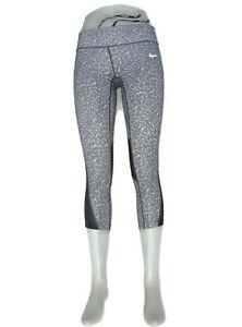 Nike Running Skinny Workout Yoga Leggings Women Sz S Black White Tights Mid-Calf