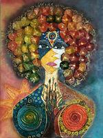 Annabelle - Quadro dipinto a mano artigianale in cuoio su tela - Pezzo Unico
