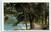 Boats Dock Vassar Lake Poughkeepsie New York NY Vintage Postcard B24