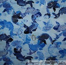 BonEful Fabric FQ Cotton Quilt Blue Sea FISH Ocean Water US Asian Oriental Beach