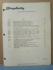 Simplicity 1954 Thru 1969 Walking Tractors Attachments Parts Manual Original!
