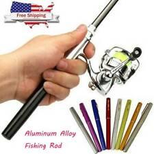 Portable Mini Pocket Fish Pen Shape Aluminum Alloy Fishing Rod Pole Reel Gear