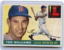 1955 TOPPS BASEBALL #2 TED WILLIAMS, BOSTON RED SOX, HOF, 080416
