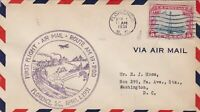 US Airmail 1931 First Flight Train on Railway Scene Slogan Stamp Cover Ref 48513