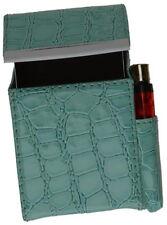 Green Croc Cigarette Leather Case Lighter Pouch Clip Top Regular 100's Holder