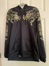 Viking Norse Mythology Black and Gold Pullover Drawstring Hoodie with Pockets