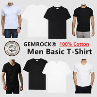 Black White Men 100% Thick Cotton Casual T-Shirt Short Sleeve Tee Crew V Neck