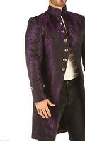 Mens Luxury Brocade JACKET Gothic Steampunk Wedding VINTAGE Coat frock Top