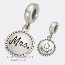 Authentic Pandora Sterling Silver Mrs Engraved Dangle Bead ENG791169_32