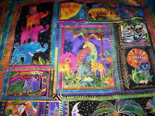 1 panel MYTHICAL JUNGLE by Laurel Burch for Clothworks Fabrics black glitter