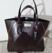 NWT $298 DKNY Burgundy Saffiano Leather Large Tote Satchel Shoulder Bag w/ Pouch