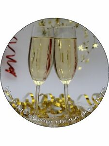 Congratulations Champers Champagne Personalised Edible Cake Topper Wafer Icing