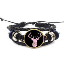 Deer Mossy Oak Pink Glass Cabochon Bracelet Braided Leather Strap Bracelets