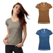Damen T-Shirt mit auffälligen Effekt Rundhals Shirt 100% Baumwolle XS S M L XL