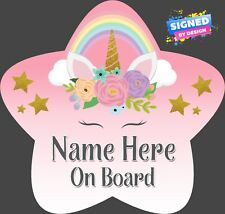 Unicorn Personalised Star Shaped Baby On Board Car Sign Rainbow Unicorn