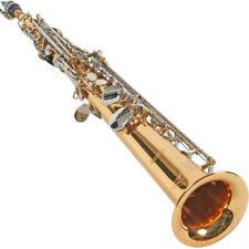 Karl Glaser Sopran Saxophon, gerade Bauweise, Gold mit verchromten Klappen
