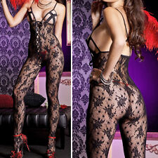 Floral Lace Net Criss Cross Open Bust Corset Up Crotchless Bodystocking Lingerie