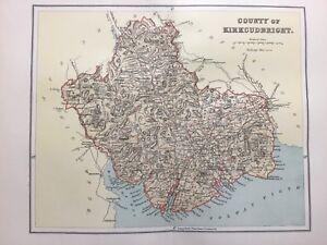 Kirkcudbright, Antique County Map c1900, Scotland, Atlas, Dumfries, Fleet Bay
