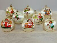 LOT of 8 Vintage Satin Ball Ornaments Wrap Christmas Tree Decor White 1970s